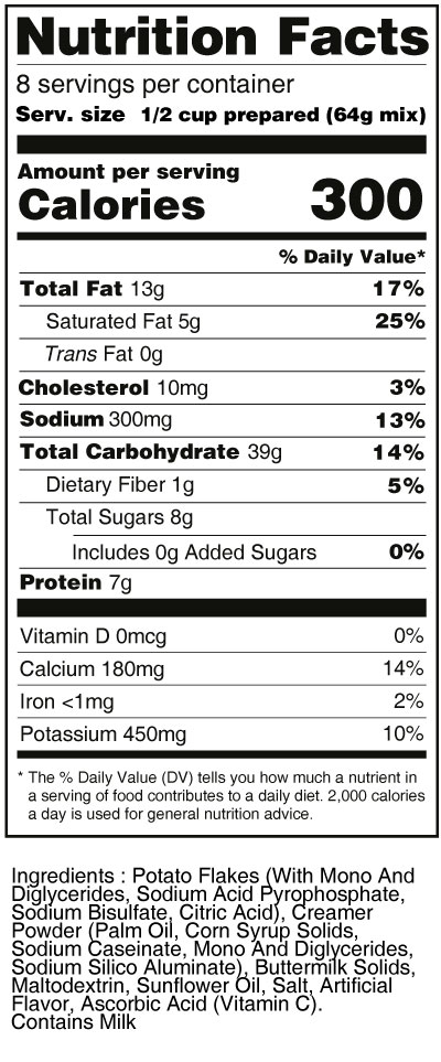 bernard-high-protein-mashed-potato-mix-nutrition-facts